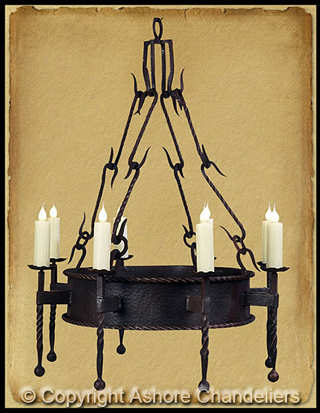 Ashore chandeliers handforged iron chandeliers ch 1019 single tier lodge chandelier aloadofball Choice Image